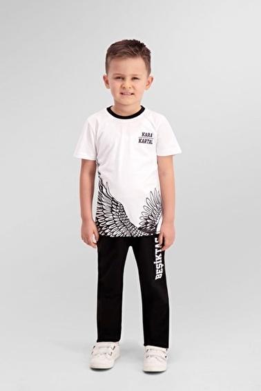 Beşiktaş Beşiktaş Lisanslı Siyah Erkek Çocuk Pijama Takımı Beyaz